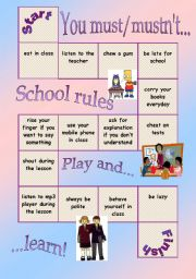 English Worksheet: Board game - school rules