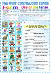 English Worksheet: THE PAST CONTINUOUS TENSE- TWO PAGES (B&W VERSION INCLUDED)