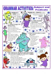 English Worksheets: SUBJECT AND PREDICATE - EASY GRAMMAR REFERENCE AND ACTIVITIES