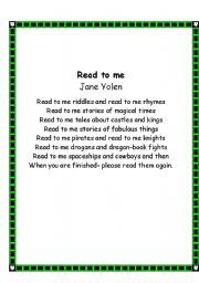 English Worksheet: 24 poems about reading
