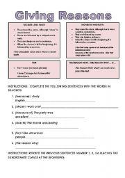 English Worksheets: giving reasons