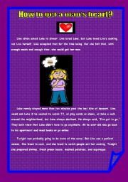 English Worksheets: HOW TO GET A MAN�S HEART!! reading comprehension