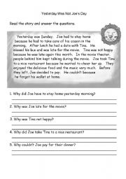 English Worksheets: Yesterday was not my day