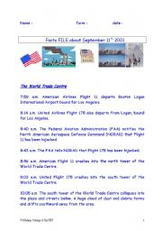 English Worksheets: FACTS FILE 9/11/01    A Timeline of events