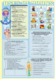 English Worksheets: USES OF NOUNS