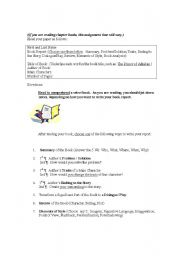 English Worksheets: Book Reports, Various Ways of Writing