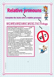 English Worksheet: Relative pronouns. who, which, what, that,whose, when