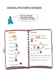 English Worksheet: Cookies: Substitute the images (ingredients) for words and get a delicious recipe of chocolate chips cookies.