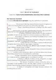 English Worksheet: The Key to Tolerance