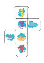 English Worksheets: cube of sea animals