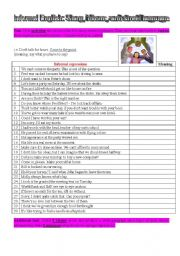 English Worksheet: idioms, slang, and street language 2