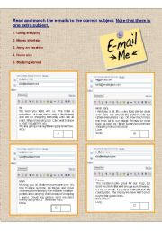 English Worksheet: Reading:  e-mails to subjects matching