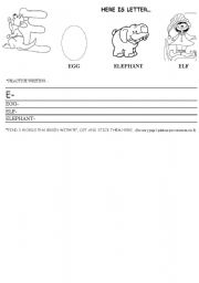 English Worksheets: Letter E