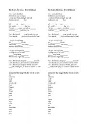 English Worksheet: Parts of the body - Skary Skeleton Song