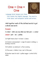 English Worksheet: Brain Teasers: One + One = One