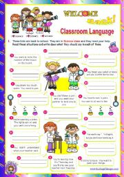 English Worksheet: Back to School  -  Classroom Language  (2/2)