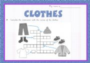 English worksheet: Clothes cross-word