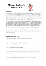 English Worksheet: Michael Jackson�s Thriller