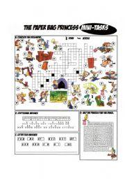 English Worksheets: Paper Bag Princess by Robert Munsch_Crossword & Mini-Tasks