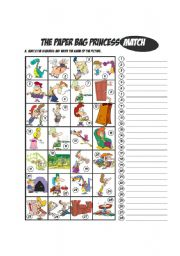 English Worksheets: Paper Bag Princess by Robert Munsch_Matching Exercise