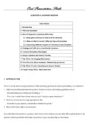 English Worksheet: Oral Presentation Skills: Question and Answer Session