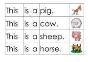 English Worksheets: FARM ANIMALS SENTENCE SEQUENCING