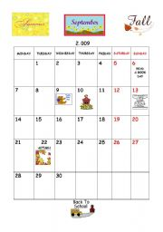 English worksheet: September calendar