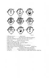 English Worksheet: facial expressions+ exercises