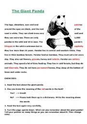 English Worksheets: Let�s learn about the giant panda