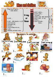 English Worksheet: Garfield�s likes and dislikes