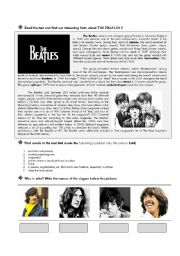 English Worksheets: Biography and songs of The Beatles part 1 of 2