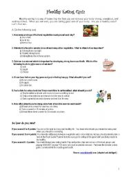picture about Printable Nutrition Quiz titled Healthier Consuming Quiz (Modals) - ESL worksheet by way of anabelacdn