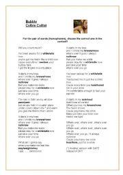 English Worksheet: Bubbly - homophones