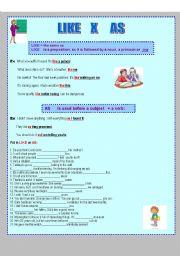 English Worksheet: Like versus As