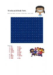 English Worksheets: Wordsearch body parts