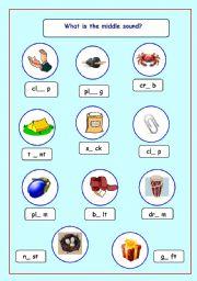 English worksheet: short vowel sounds