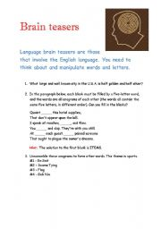 English Worksheet: Brain Teasers 2
