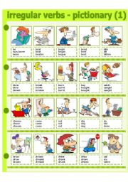 English Worksheet: IRREGULAR VERBS - PICTIONARY 1 - PART 1