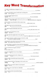 English Worksheets: FIRST CERTIFICATE - Key Word transformation - B&W