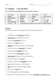 English Worksheet: Conjunctions: cause and effect