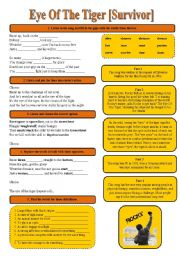 English Worksheet: SONG!!! Eye Of The Tiger [Survivor] - Printer-friendly version included