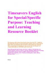 English Worksheets: Timesavers english for specific purpose booklet part a