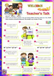English Worksheet: Back to School series  -  Teacher´s Talk  (2/2)
