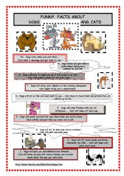 English Worksheets: Funny facts about dogs and cats - reading