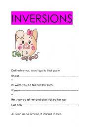 English Worksheets: INVERSIONS