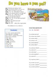 English Worksheet: Do you have a pen pal?