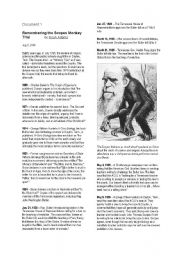 English Worksheets: Remembering the Scopes Monkey Trial