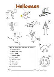 Halloween colouring exercise