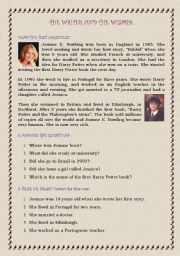 English Worksheets: The writer and the Wizard (Harry Potter)