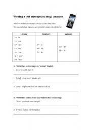 English Worksheets: text message